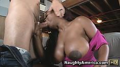 Big tittied ebony bitch Jada Fire nibbles on his sweet vanilla stick