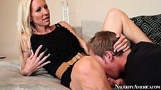 Sexy blonde cougar Emma Starr seduces a young stud to fulfill her wild fantasies