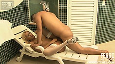 Blonde shemale with big boobs Bruna has horny stud Mateus drilling her ass
