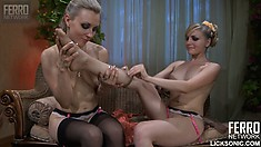 Betty and Judith feel each other up and then try out their double dildo