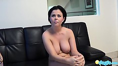 Appealing lassie named Loni gets her tits squeezed and pussy stretched