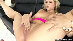 Busty blonde hottie Sarah Vandella takes his cock deep down her throat