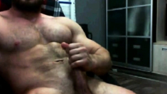 Hairy Muscle Hunk Cums